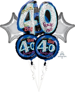 40th Birthday Kit (5 Mylar Balloons)