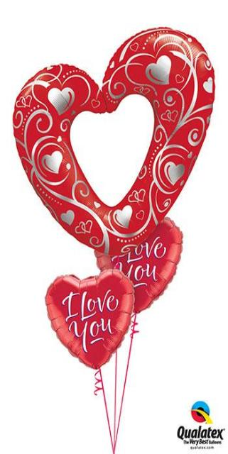 Red Valentine Hearts Bouquet (1 Giant Heart, 2 Foil Hearts)
