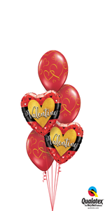 Red & Gold Valentine Bouquet (2 Foils, 3 Latex)