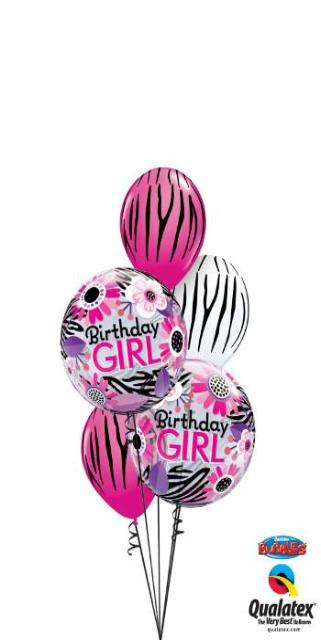 Birthday Girl Zebra Pattern Bouquet (2 Bubbles, 3 Latex)