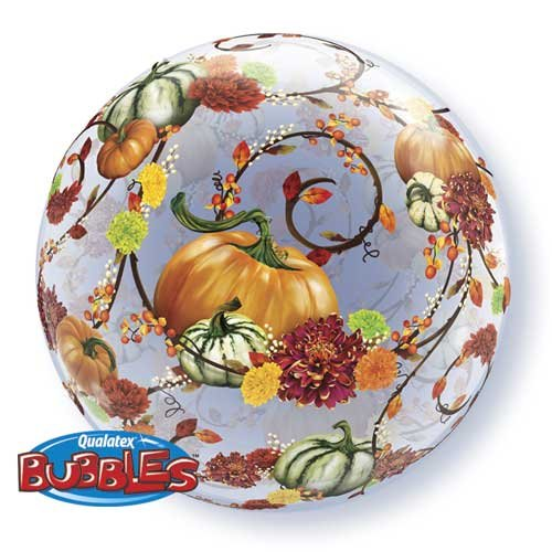 Autumn Pumpkins Vines Floral Bubble