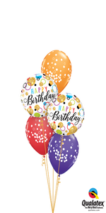 """Glitterrific"" Birthday Dots Bouquet (2 Foils, 3 Latex)"