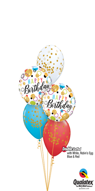 Glitter Birthday Dots Bouquet (2 Foils, 3 Latex)