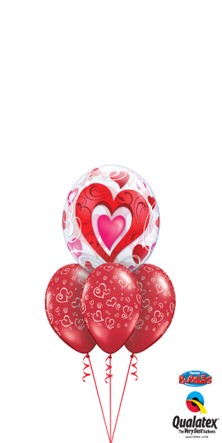 Red Hearts & Filigree Bubble Layer (1 Bubble, 3 Latex)