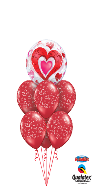 Red Hearts & Filigree Bubble (1 Bubble, 6 Latex)
