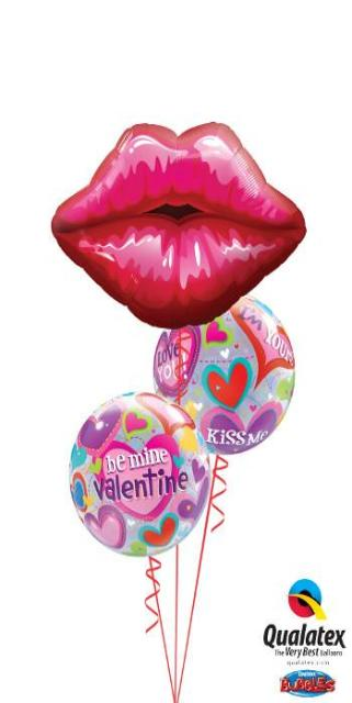 Valentine's Day Kissey Lips (1 large lips, 2 Bubbles)