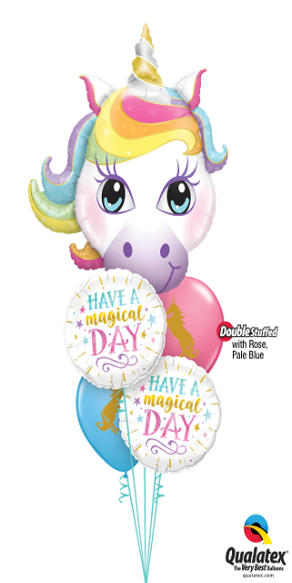 Magical Day Birthday Double Stuffed Latex Bouquet (1 Large Unicorn, 2 Foils, 2 Double Stuffed Latex)