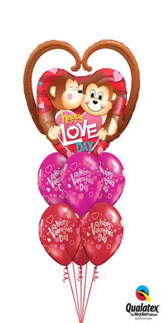Happy Love Day Bouquet (1 Large Monkey Foil, 6 Latex)