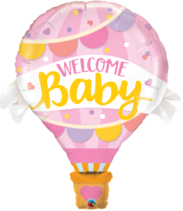 Welcome Baby Hot Air Pink Balloon