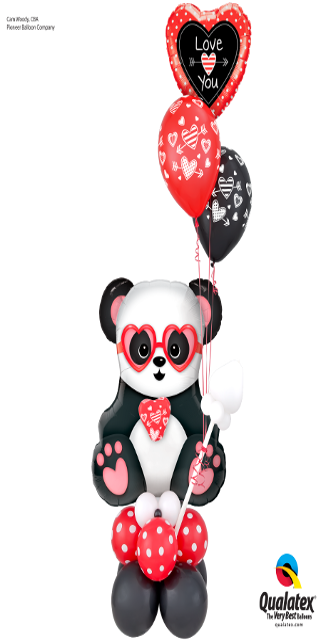King of Valentine's (1 Large Panda Bear, 1 Foil, 16 Latex)