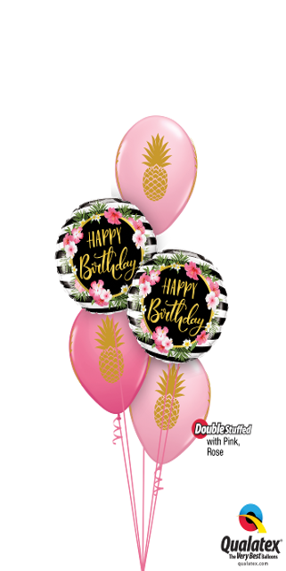 Pink & Rose Pineapple Party Bouquet (2 Foils, 3 Double Stuffed Latex)