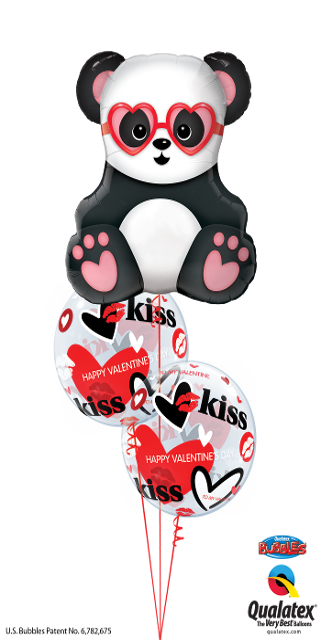 Valentine's Panda and Bubbles (1 Large Panda, 2 Bubbles)