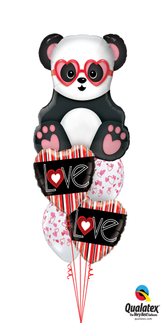 Vertical Stripe Valentine Hearts & Panda ( 1 Large Panda, 2 Foil, 2 Latex)