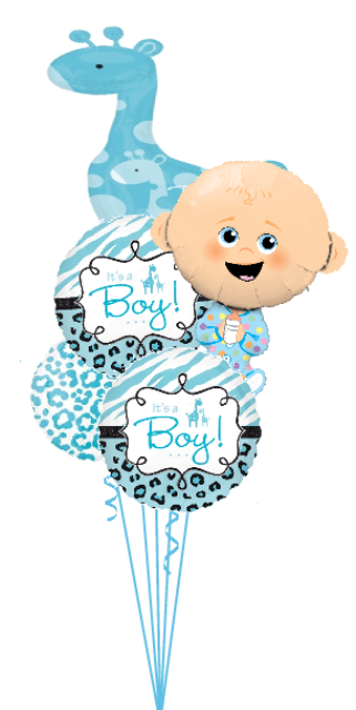 Personalized Baby Boy Bouquet with Giraffe (2 Large Foils, 3 Foils)