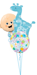 Personalized Baby Boy Bubble Bouquet (2 Large Foils, 1 Bubble)