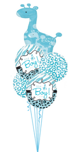 Personalized Name It's a Boy Giraffe Bouquet (1 Large Foil, 4 foils)