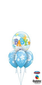 Baby Boy Bubble Bouquet (1 Bubble, 3 Latex)