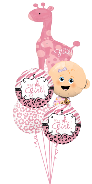 Personalized Baby Girl Bouquet with Giraffe (2 Large Foils, 3 Foils)