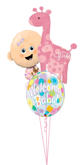 Personalized Baby Girl Bubble Bouquet (2 Large Foils, 1 Bubble)