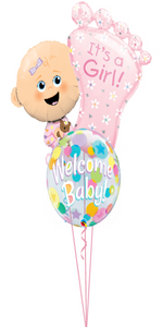 Personalized Baby Girl Foot Bouquet 2 Large Foils, 1 Bubble)