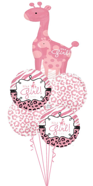 Personalized Name It's a Girl Giraffe Bouquet (1 Large Foil, 4 foils)