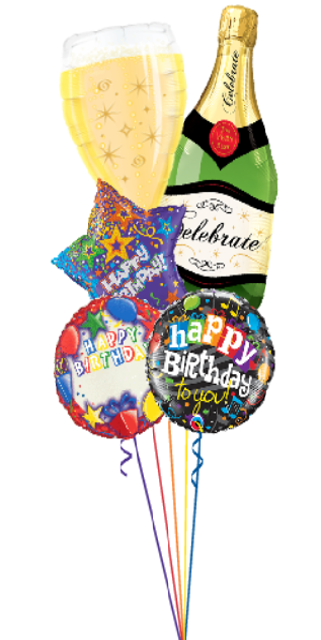 Personalized Birthday Bubbly Bouquet (5 Foil Balloons)