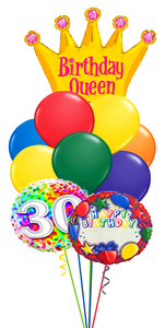 Birthday Queen Bouquet Name & Optional Age (3 Foils, 9 Latex)