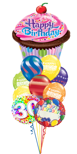Personalized Name & Age Birthday Cupcake Bouquet (3 Foils, 9 Latex)