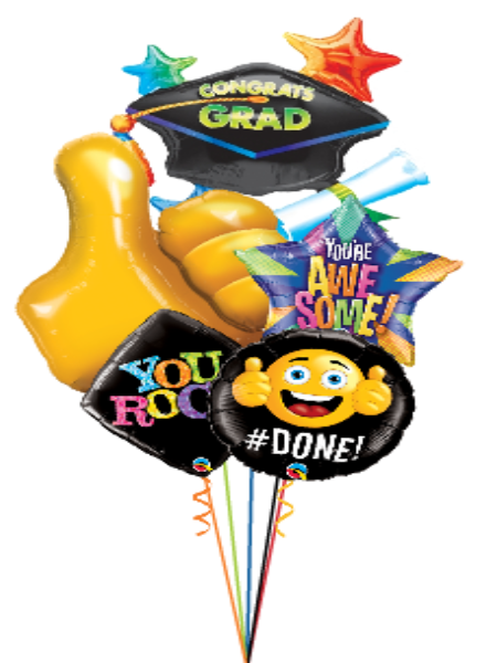 Thumbs Up & Grad Cap Asst Foil Bouquet (Optional Personalization)(5 Foils)