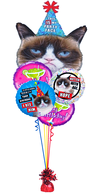 Grumpy Cat Birthday Bouquet (1 Giant foil, 4 Foils)