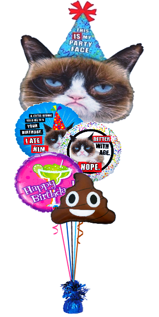 Grumpy Cat Poop Bouquet (1 Giant Foil, 4 Foils)