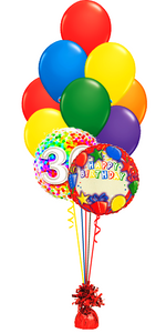 Birthday Balloon Bouquet Name and Age (2 Foils, 10 Latex)
