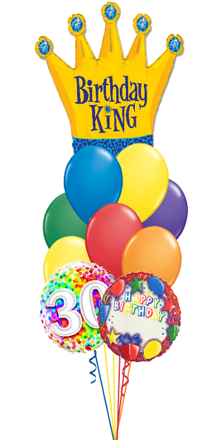 Birthday King Bouquet Name & Optional Age (3 Foils, 9 Latex)