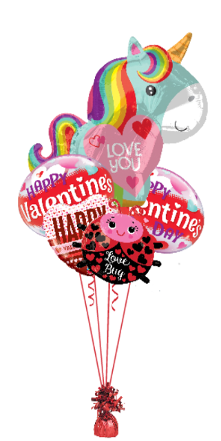 Unicorn and Love Bug Bouquet 2 Jr Shape, 2 Bubbles, 1 foil)