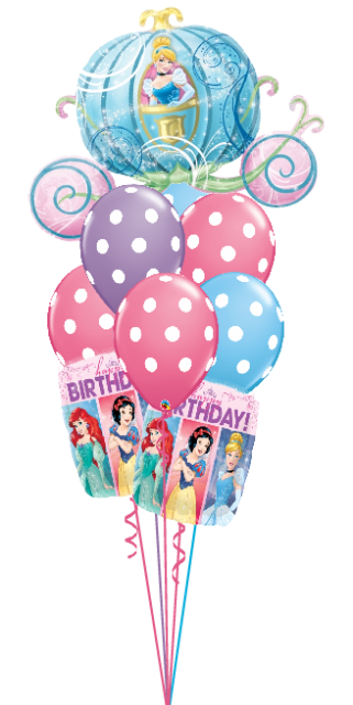 Princess Birthday Cinderella Carriage Bouquet (6 Latex, 3 Foils)