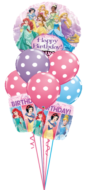 Princess Birthday Singing Bouquet (1 Singing Balloon, 2 foils, 6 latex)