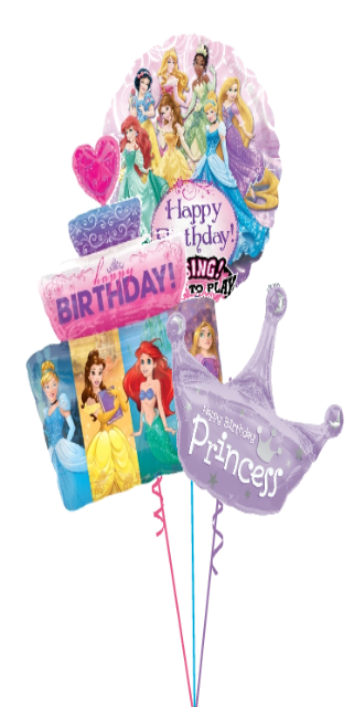 Princess Birthday Singing, Cake & Crown Bouquet (3 Large Foils) Singing Balloon