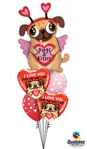 Pug You Valentine Bouquet (1 Large Foil, 2 Small Foils, 2 Latex)