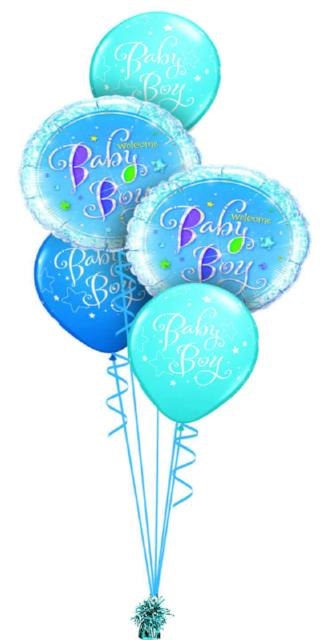 Baby Boy Bouquet (2 Foil, 3 Latex)