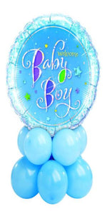 Welcome Baby Boy Centerpiece (1 Foil, 10 Latex)