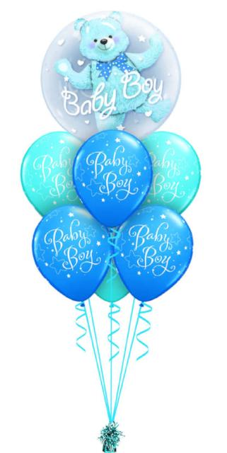 Baby Boy Double Bubble Bouquet (1 Double Bubble, 6 Latex)
