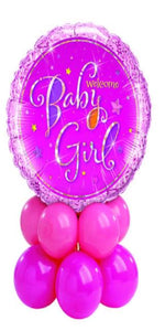 Welcome Baby Girl Centerpiece (1 Foil, 10 Latex)