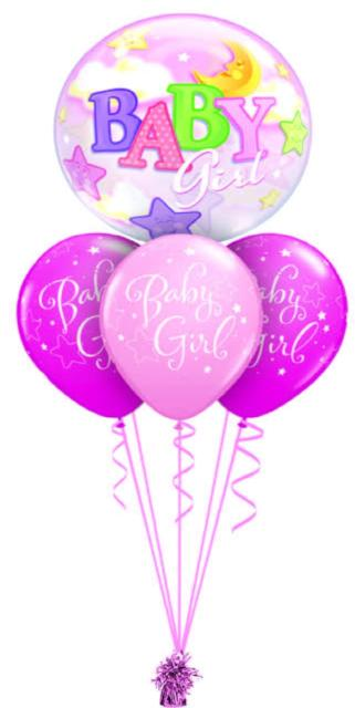 Baby Girl Bubble Bouquet (1 Bubble, 3 Latex)