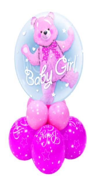 Double Bubble Girl Super Centerpiece or Floor Display (1 Double Bubble, 8 Latex)