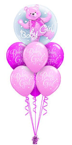 Baby Girl Double Bubble Bouquet (1 Double Bubble, 6 Latex)