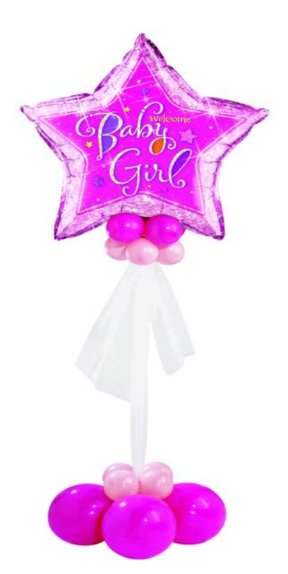 Welcome Baby Girl Floor Bouquet (1 Giant Star, 20 Latex)