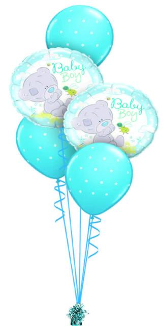 Baby Boy Bear and Dots Bouquet (2 Foil, 3 Latex)