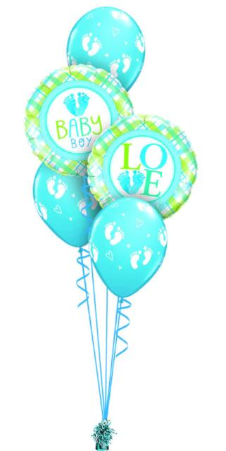 Baby Boy LOVE Bouquet (2 Foil, 3 Latex)
