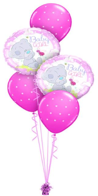Baby Girl Bear and Dots Bouquet (2 Foil, 3 Latex)