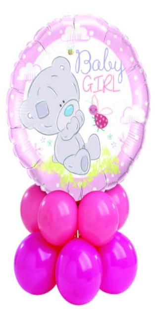 Baby Girl Bear Centerpiece (1 Foil, 10 Latex)